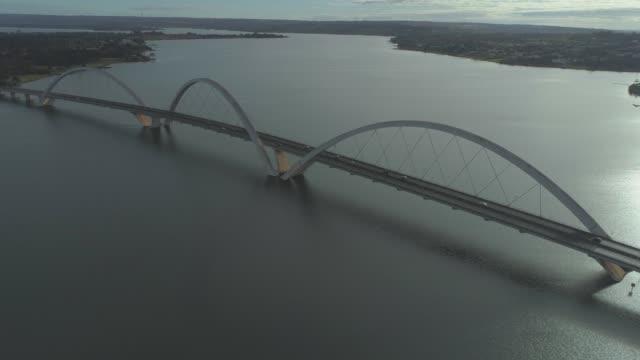 Brasilia aerial approaching the Juscelino Kubitsheck Bridge (JK Bridge)
