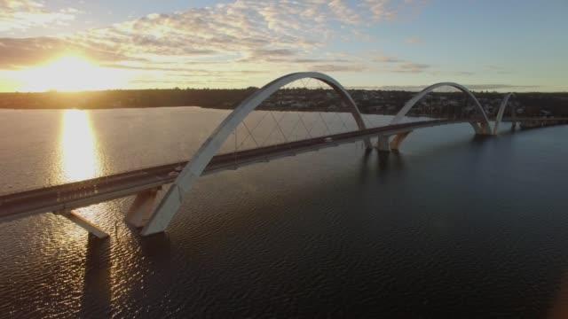 Brasilia Aerial - sunrise wide Juscelino Kubitsheck Bridge