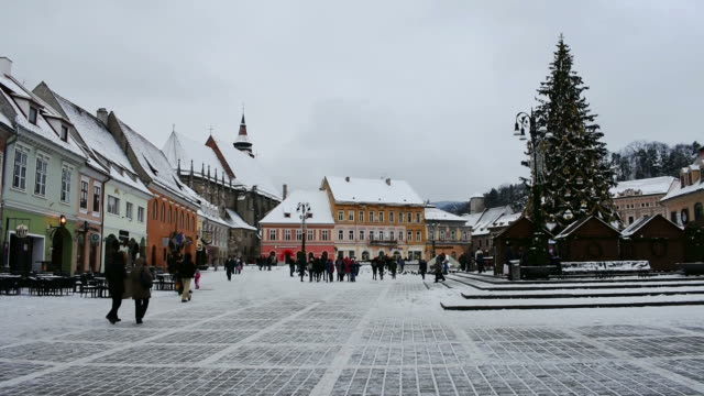 Brasov Square Decorated for Christmas video