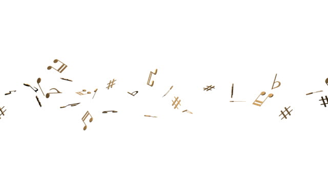 Brass Musical Notes On White Background video