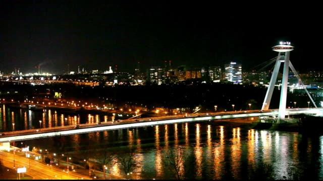 Bratislava bridge at Night - Slovakia, Time lapse video