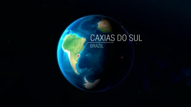 vídeos de stock, filmes e b-roll de brasil-caxias do sul-zoom do espaço à terra - país área geográfica