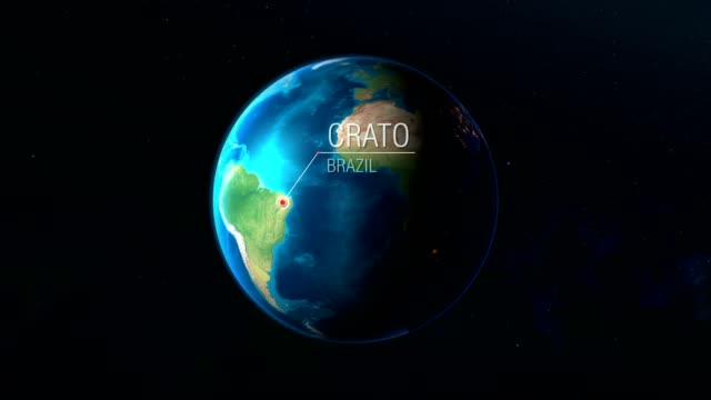 vídeos de stock e filmes b-roll de brazil - crato - zooming from space to earth - portalegre