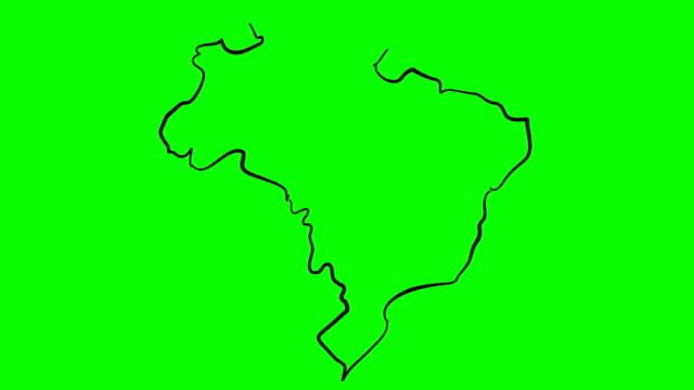 vídeos de stock, filmes e b-roll de mapa do brasil desenho esboço na tela verde isolado whiteboard - brazil map