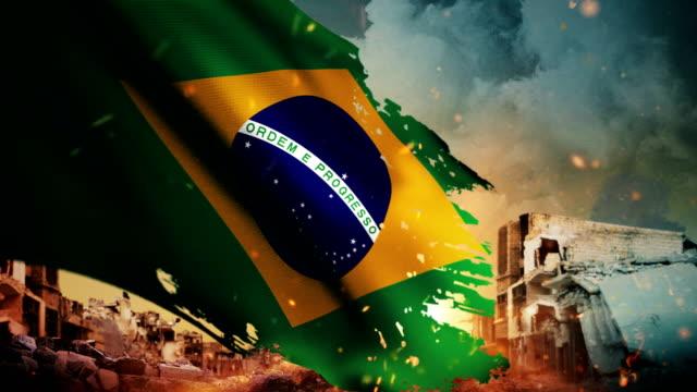 4K Brasil bandeira - crise / guerra / Fire (Loop) - vídeo