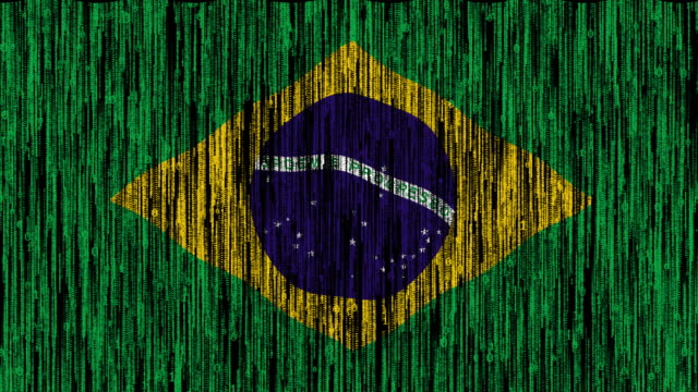 Brazil flag digitally generated animation with ones and zeros binary computer code