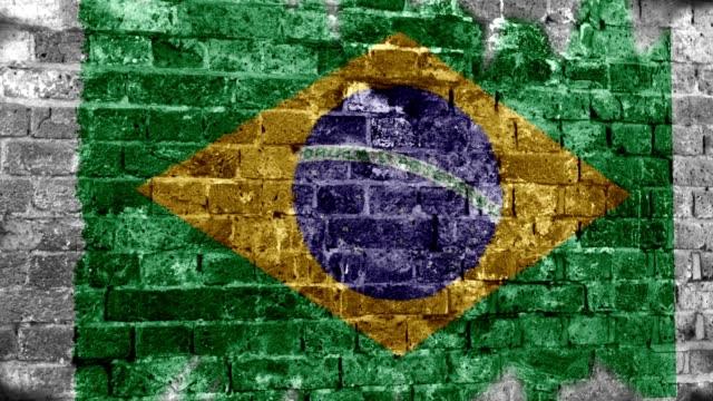 Brazil Flag Grunge Wall. 4k video