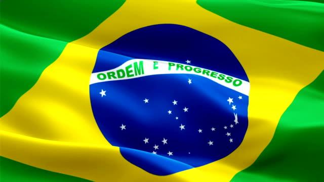 Video de Brasil bandeira acenando no vento. Fundo de bandeira brasileira realista. Closeup de Looping bandeira Brasil imagens Full HD 1920 X 1080 de 1080p. Bandeiras de países europeus da UE Brasil / HD outras bandeiras disponíveis - vídeo