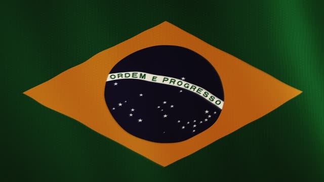 Brazil flag waving animation. Full Screen. Symbol of the country video