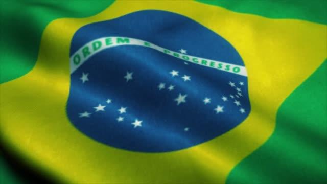 brasilien flagga vinkar i vinden. brasiliens flagga. tecken på brasilien sömlös loop animation. 4k - brasilien flagga bildbanksvideor och videomaterial från bakom kulisserna