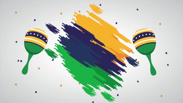 vídeos de stock e filmes b-roll de brazil independence day celebration with flag and maracas - setembro