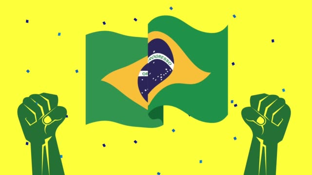 brazil independence day celebration with flag and strong hands video