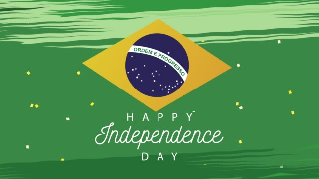 brazil independence day celebration with lettering and flag video