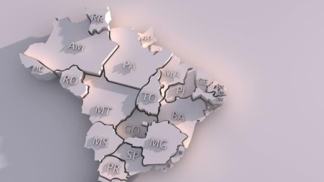 vídeos de stock, filmes e b-roll de 3 d mapa 3d com membros do brasil - brazil map