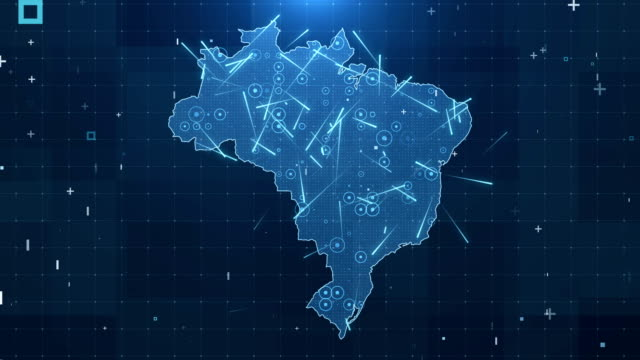 Brazil Map Connections full details Background 4K Global Connections, Business, Internet, Country brazil stock videos & royalty-free footage