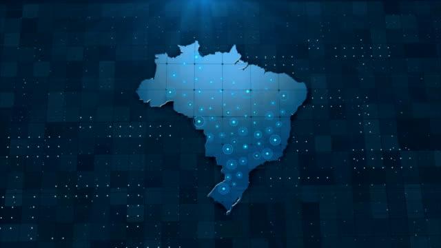 4k brazil map links 4k with full background details - sud est video stock e b–roll