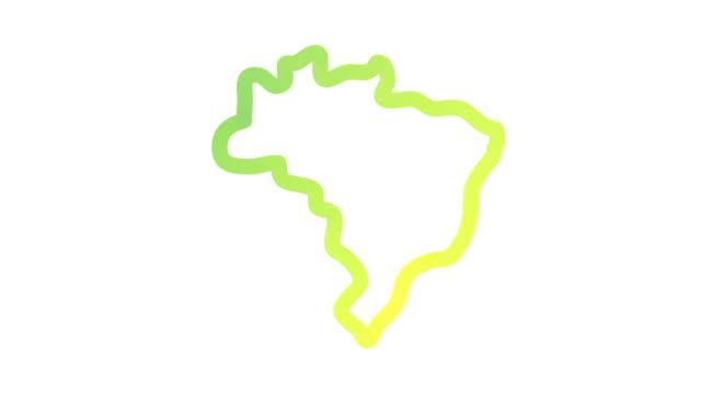 vídeos de stock, filmes e b-roll de esboço do mapa de brasil - brazil map