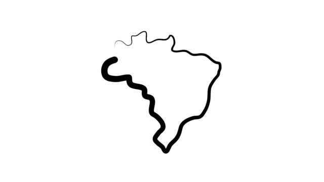 vídeos de stock, filmes e b-roll de esboço de mapa do brasil - brazil map
