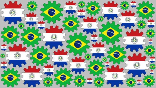 Brazilian and paraguayan flag gears spinning background video