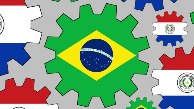 Brazilian and paraguayan flag gears spinning background zooming out video