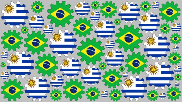Brazilian and uruguayan flag gears spinning background video