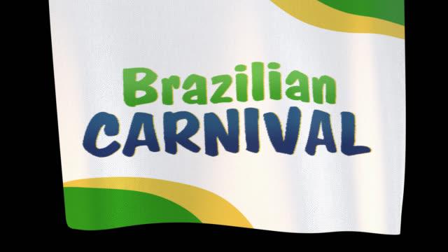 brasilianischer karneval entfalten tuch zeichen. alpha-kanal wird nur beim herunterladen der 4k apple prores 4444 datei enthalten sein - spruchband stock-videos und b-roll-filmmaterial