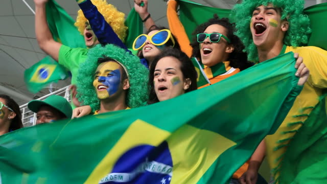 Brazilian fans supporting their team