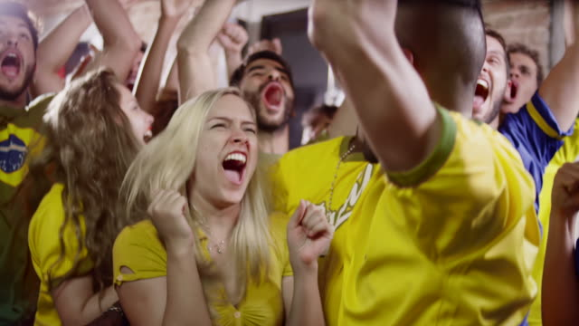 Brazilian Fans Watch a Soccer Game at a Sports Bar video