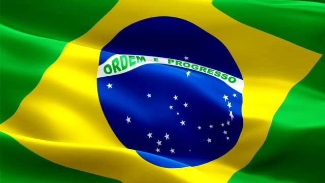 Bandeira brasileira Closeup 1080p Full HD 1920 X 1080 gravação vídeo agitando no vento. Bandeira brasileira 3d nacional acenando. Sinal de animação de loop sem costura do Brasil. Fundo de bandeira brasileira resolução HD 1080p - vídeo