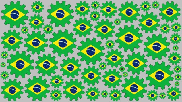 Brazilian flag gears spinning background video