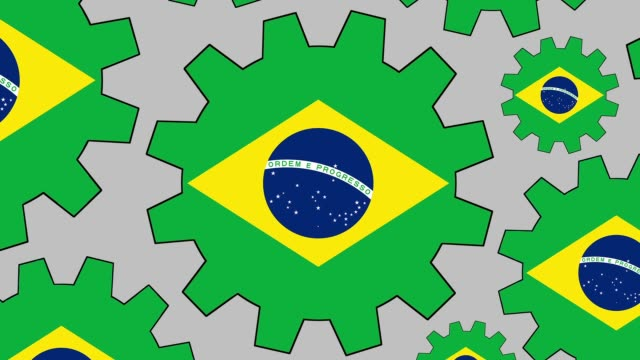 Brazilian flag gears spinning background zooming out video