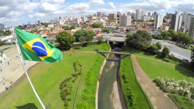 Brazilian Flag on Ipiranga, Sao Paulo, Brazil video