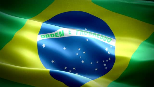 Bandeira brasileira acenando em vento fundo Full HD de bandeira brasileira realista dos vídeos. Closeup de Looping bandeira Brasil imagens Full HD 1920 X 1080 de 1080p. País europeu do Brasil da UE bandeiras Full HD - vídeo