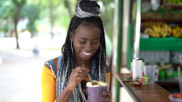 Brazilian Girl Eating Açai Acai Bowl video