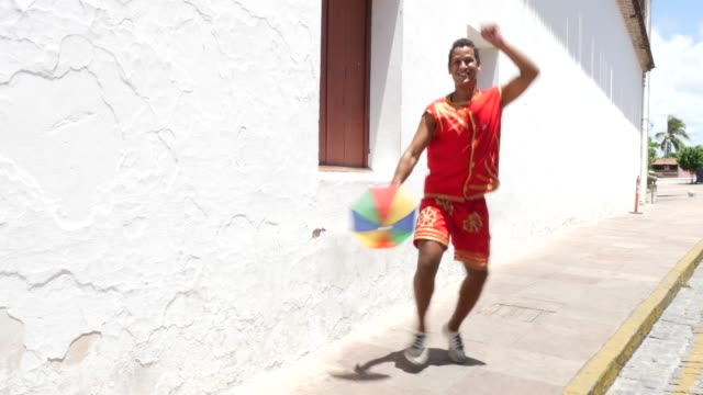 Brazilian guy dancing Frevo in Olinda, Brazil video