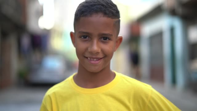 Brazilian Kid Portrait at Favela Portraits boys stock videos & royalty-free footage