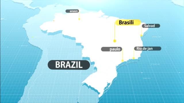 vídeos de stock, filmes e b-roll de mapa brasileiro - brazil map