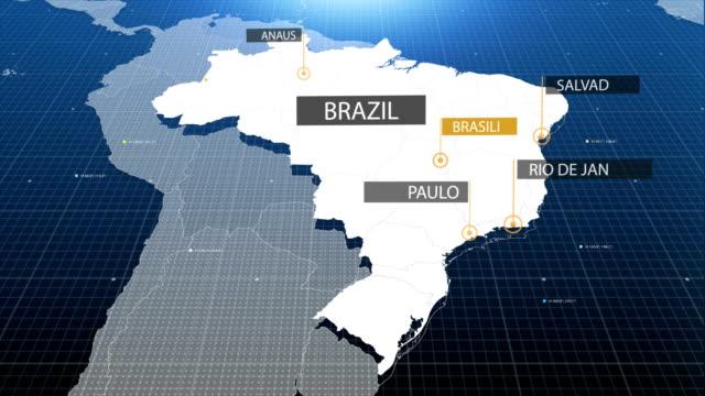 vídeos de stock e filmes b-roll de brazilian map - américa do sul