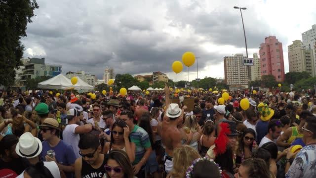 Brazilian People Celebrating Carnaval on Street video