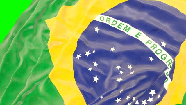 Brazilian waving flag. Green screen. Close up video