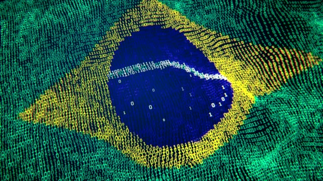 Brazıl Flag Particle Digital Flag Loopable 4K Flag, Symbol, Wave Pattern, Wind, Binary code brazil stock videos & royalty-free footage