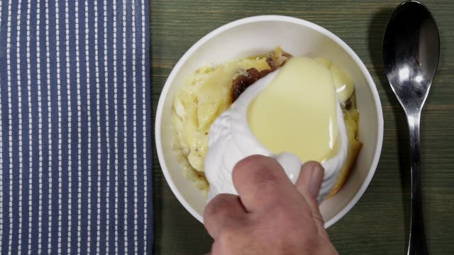 Bread And Butter Pudding With Custard video