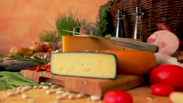 bread meat and cheese on table video