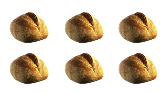 Brot-Spinnen und rotierenden isoliert auf weißem Hintergrund Essen in der Luft schweben – Video