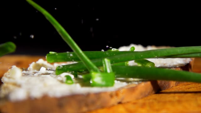 HD SLOW MOTION: Bread, Spread And Spring Onion video