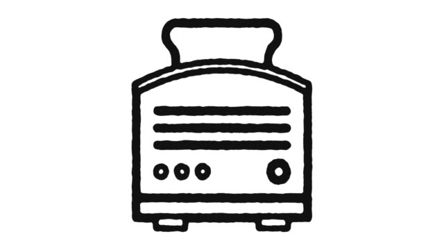 Bread Toaster Icon Animation Footage & Alpha Channel