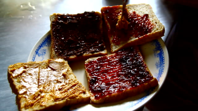 Bread with jam ,hand video
