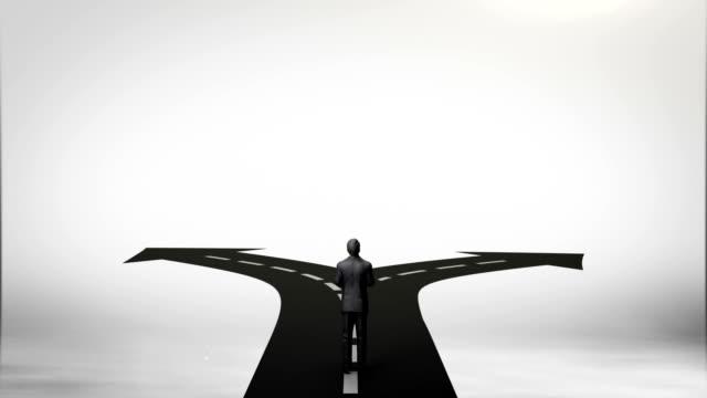 break the concrete wall. businessman choose separate ways.gray sky. - пешеходная дорожка путь сообщения стоковые видео и кадры b-roll