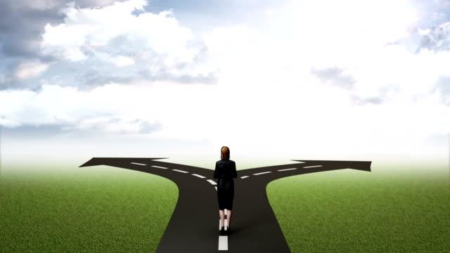 break the concrete wall. businesswoman choose separate ways. cloud sky. - położenie filmów i materiałów b-roll