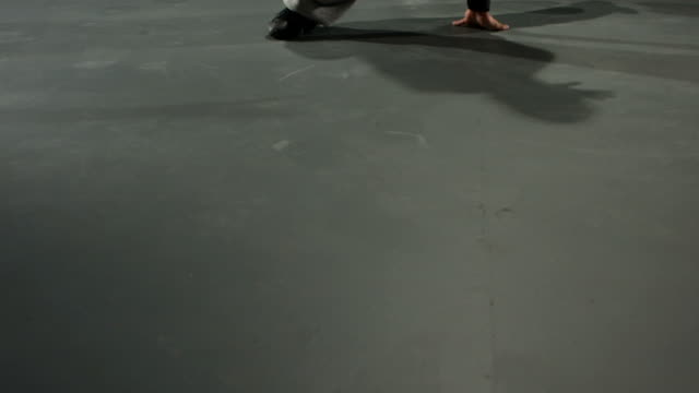 Breakdancer spinning in slow motion video